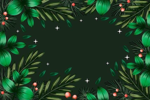Watercolor background christmas tree branches
