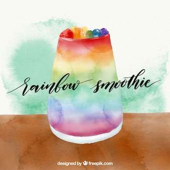 Watercolor background of colored fruit juice
