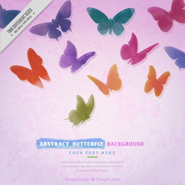 Watercolor background of colorful butterflies