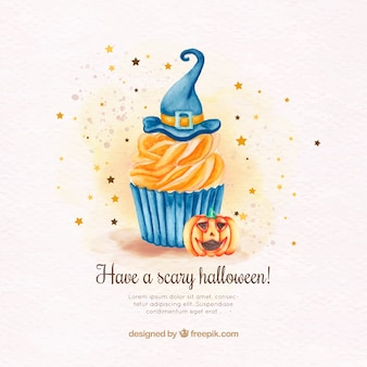 Watercolor background of cupcake with witch hat and pumpkin
