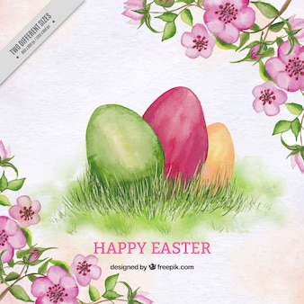 Watercolor background of easter eggs with flowers and leaves