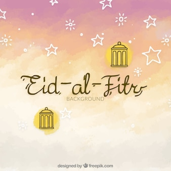 Watercolor background of eid al fitr with stars