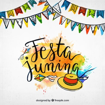 Watercolor background of festa junina with hand drawn elements