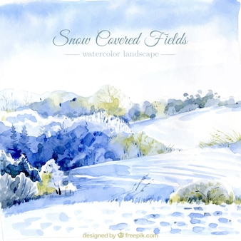 Watercolor background of field covered with snow