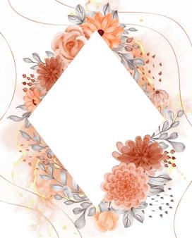 空白の水彩画の背景の花オレンジ秋のテーマ