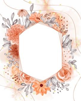 Акварель фон цветок оранжевая осенняя тема с белым пространством