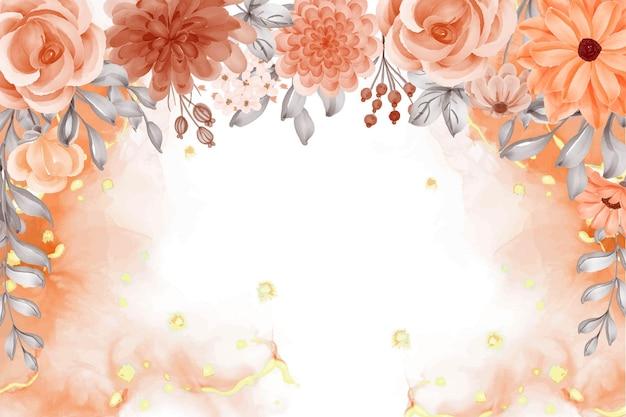 공백이 있는 수채화 배경 꽃 오렌지 가을 테마