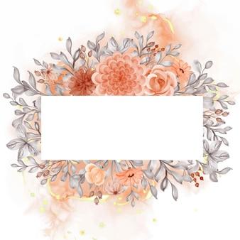 空白の水彩画の背景の花オレンジ