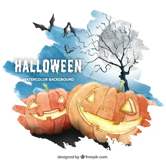 Watercolor background for halloween in blue, orange and gray