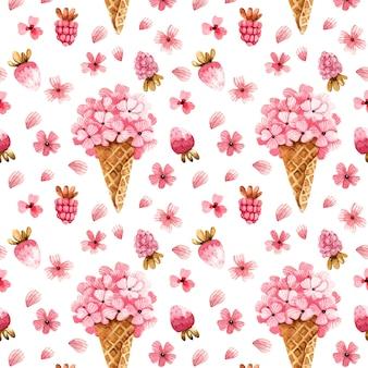 ピンクの花とバレンタインデーのための水彩の背景