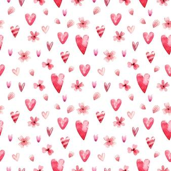 ピンクの心のバレンタインデーのための水彩の背景