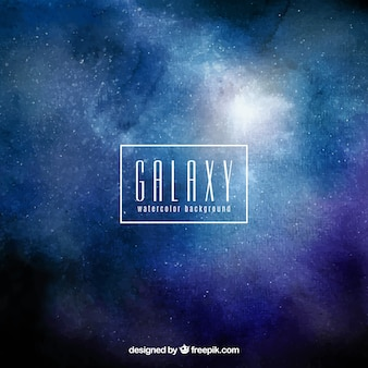 Watercolor background of galaxy in blue tone