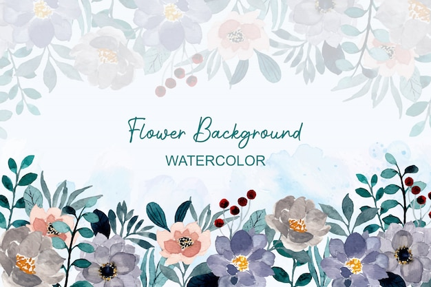 Watercolor background gray floral and green leaves
