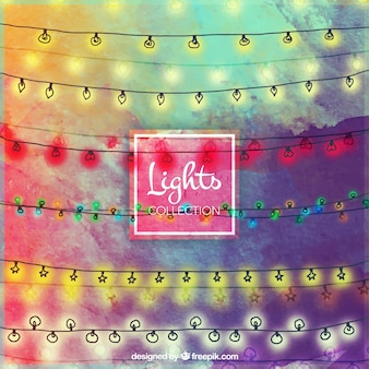 Watercolor background of hand drawn string lights