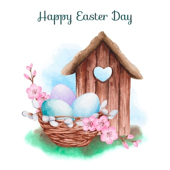 Watercolor background happy easter day