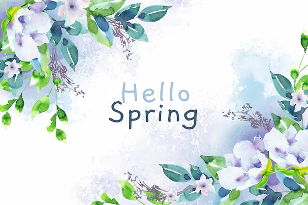 Watercolor background hello spring