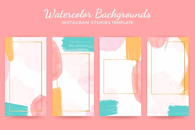 Watercolor background instagram stories templates set