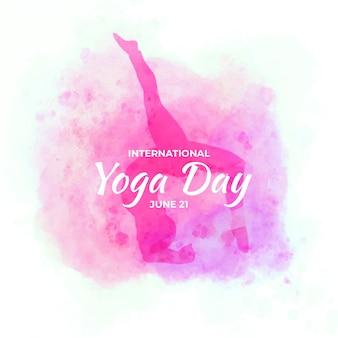 Акварельный фон международный день йоги