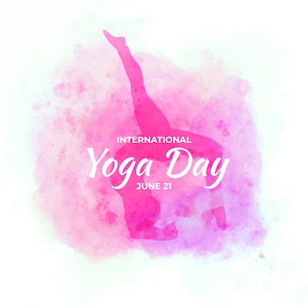 Watercolor background international day of yoga