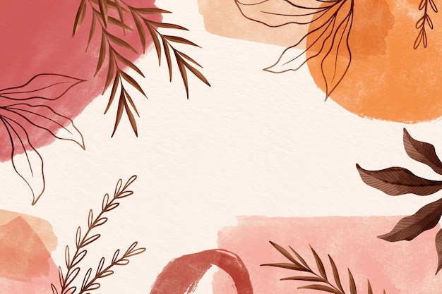 Watercolor background leaves with copy space