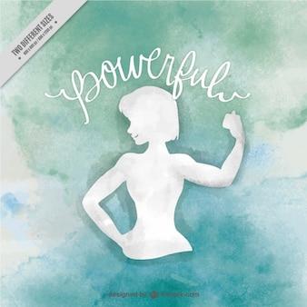 Priorità bassa dell'acquerello di muscolare donna silhouette con la parola d'ispirazione