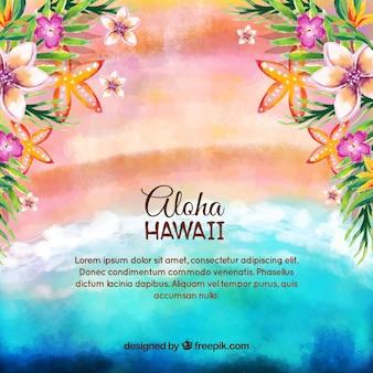 花のビーチ風景の水彩の背景