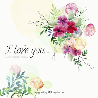 Watercolor background of flowers with love message