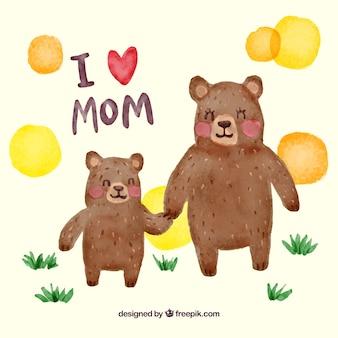 Акварельный фон счастливых медведей на день матери