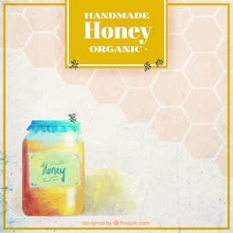 蜂蜜の瓶の水彩画の背景