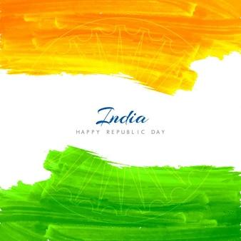 인도 국기의 수채화 배경