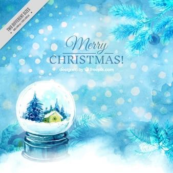 Акварельный фон с рождеством snowglobe