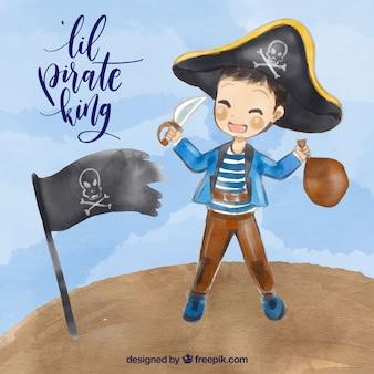 Акварельный фон пиратского малыша с флагом
