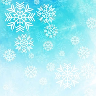Watercolor background of snowflakes