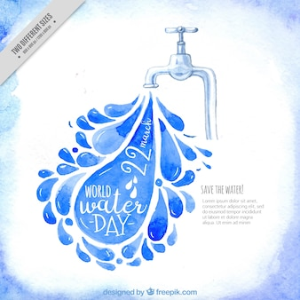 Watercolor background of tap and water droplets