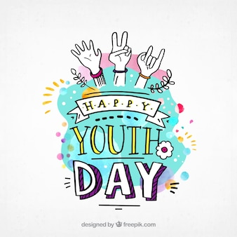 Watercolor background of youth day with drawings
