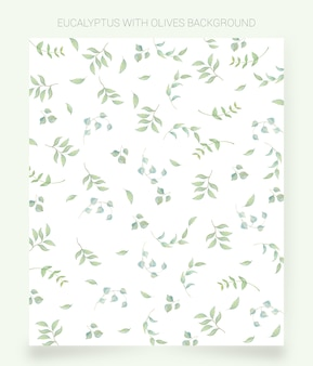 Watercolor background olives and eucalyptus leaves