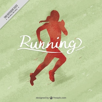 Watercolor background of red woman running silhouette