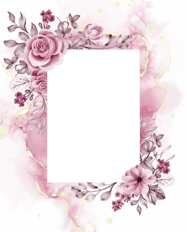 Watercolor background rose gold flowers and leaves with white space