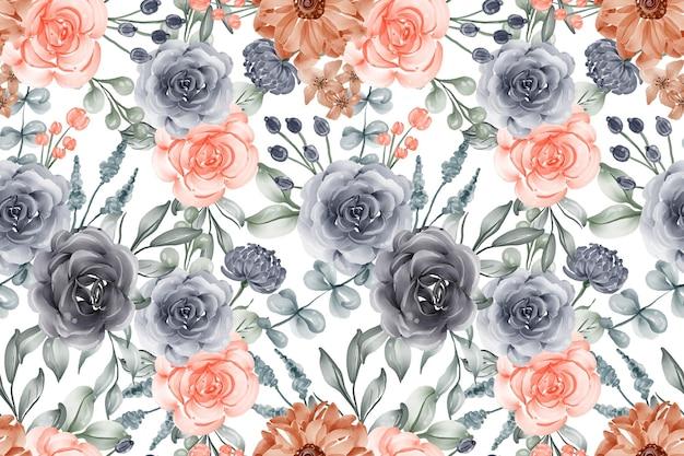 水彩背景シームレスパターン花ネイビーと桃