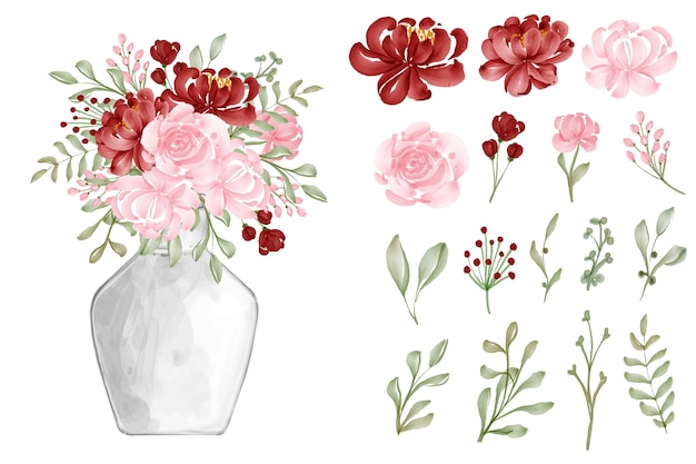 Watercolor background seamless pattern flower red and pink