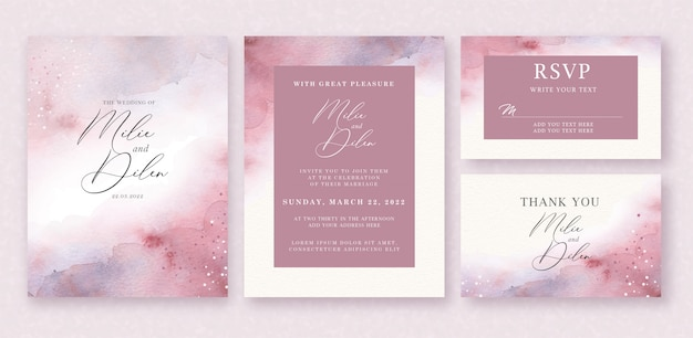 Watercolor background on wedding invitation template