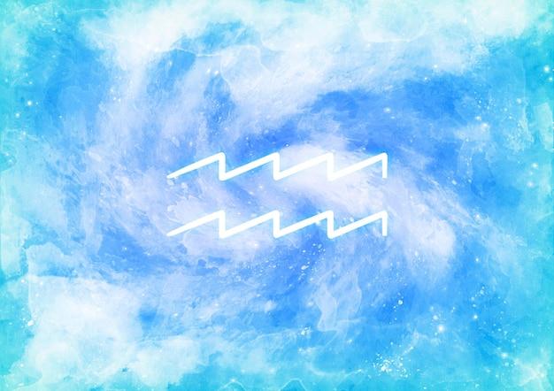 水瓶座の星座と水彩画の背景