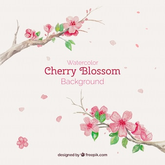 Watercolor background with beautiful blooming branches