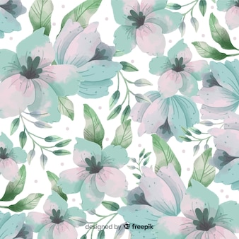 Watercolor background with beautiful flowers