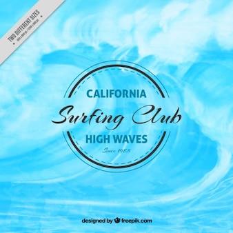 Priorità bassa dell'acquerello con una grande onda