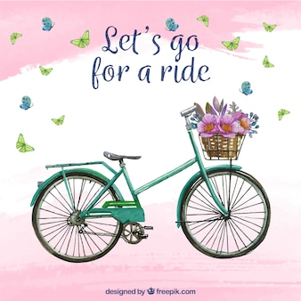 Watercolor background with bike and flowers