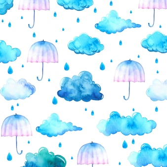 Watercolor background with blue clouds and umbrellas