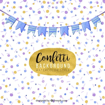 Watercolor background with a blue garland