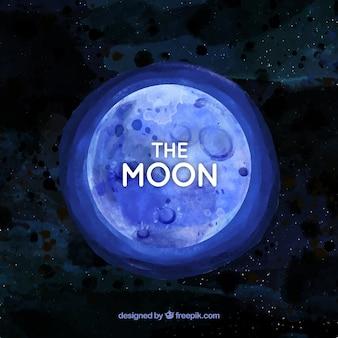Акварельный фон с голубой луной Бесплатные векторы