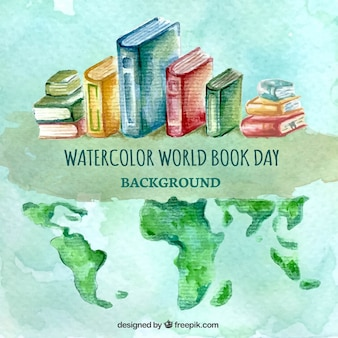 Watercolor background with books and world map
